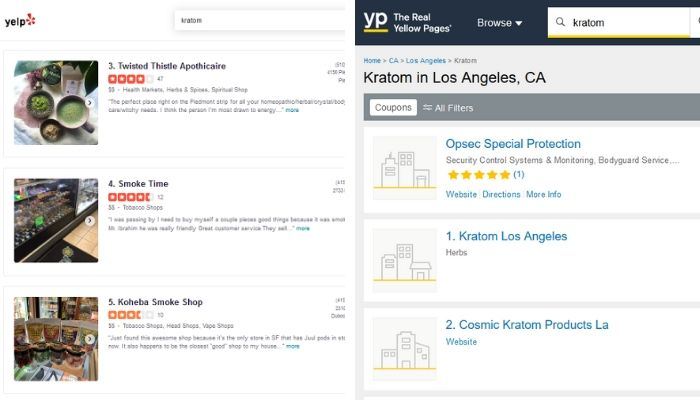 kratom searches on yelp and yellowpages
